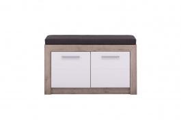 Lavice s úložným prostorem a sedákem Shine - dub šedý/bílá