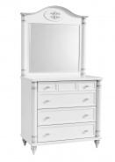 Zásuvková komoda se zrcadlem Carmen - bílá