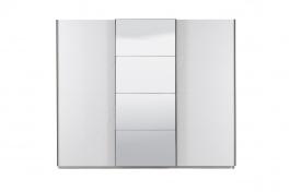 Třídveřová šatní skříň Aubrey s posuvnými dveřmi a zrcadlem - bílá