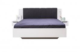 Manželská postel 160x200cm s nočními stolky Stuart - bílá/šedá/dub černý