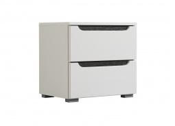 Zásuvkový noční stolek Stuart - bílá/dub černý