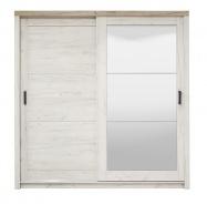 Šatní skříň s posuvnými dveřmi a zrcadlem Henry - dub bílý/dub šedý