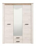 Třídveřová šatní skříň se zrcadlem Henry - dub bílý/dub šedý