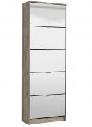 Výklopný botník 5-dvířkový se zrcadlem Vincent - dub šedý