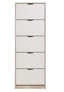 Výklopný botník 5-dvířkový Vincent - dub šedý/bílá