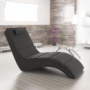 Relaxační křeslo, ekokůže černá, LONG