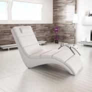 Relaxační křeslo, ekokůže bílá, LONG