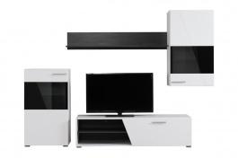 Moderní obývací sestava Aksel - bílá/dub černý