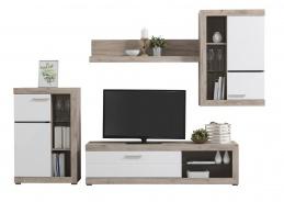 Obývací stěna Jonah - bílá/dub šedý