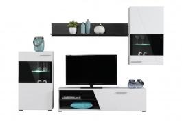 Moderní obývací sestava s osvětlením Aksel - bílá/dub černý