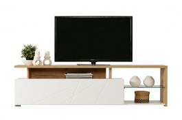 Televizní stolek Alaric - bílá/dub zlatý
