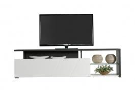 Televizní stolek Alaric - bílá/dub černý