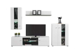 Obývací stěna s osvětlením Goro - bílá/dub černý