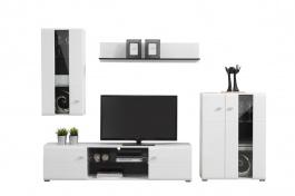 Obývací stěna Goro - bílá/dub černý