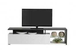 Televizní stolek s osvětlením Alaric - bílá/dub černý