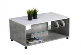 Konferenční stolek Carter - beton/bílá