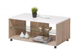 Konferenční stolek Carter - dub šedý/bílá