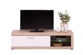 Televizní stolek s osvětlením Ronja - dub šedý/bílá
