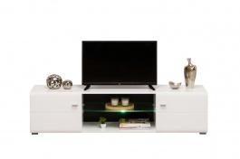 TV stolek s osvětlením Derfel - bílá/černá