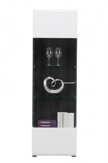 Úzká prosklená vitrína Isadora - bílá/dub černý