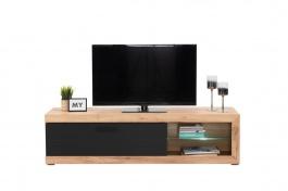 Televizní stolek s osvětlením Ronja - dub zlatý/černá
