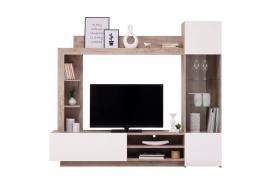 Obývací stěna Sarun - dub šedý/bílá