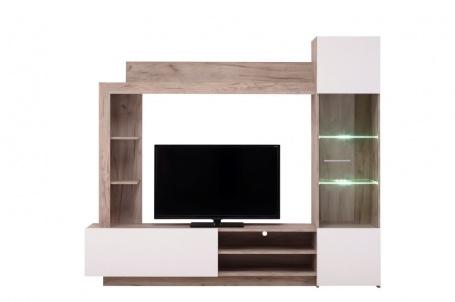 Obývací stěna s osvětlením Sarun - dub šedý/bílá