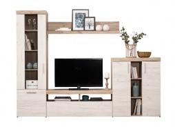 Obývací stěna Miriam - dub bílý/dub šedý