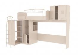 Vyvýšená postel s úložným prostorem Claudia 80x190cm - krémová