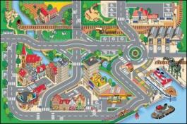 Dětský hrací koberec Město s přístavem