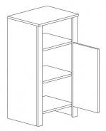 D45 d. skříňka TALIA akácie/vanilka pravá