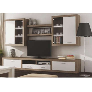 Obývací stěna s Led osvětlením, dub sonoma trufel/bílá, Cancan NEW 3