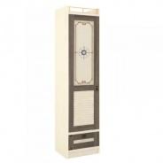 Jednodveřová šatní skříň Neptun - béžová/dub tmavý