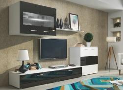 *Obývací stěna FLEX bílá/černý lesk