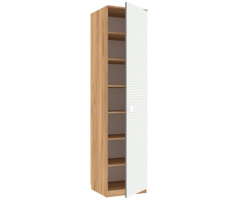 Jednodveřová skříň Ezra - dub zlatý/modrá/bílá
