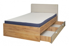 Studentská postel s úložným prostorem Ezra 120x200cm - dub zlatý/krémová/bílá
