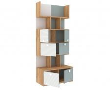 Knihovna Ezra - dub zlatý/modrá/bílá