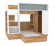 Dětská patrová postel Ezra 90x200cm - dub zlatý/modrá/bílá