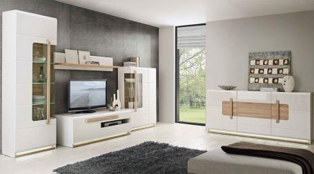 Obývací stěna s osvětlením Attention - bílá/dub sonoma/bílý lesk
