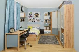 Studentský pokoj Ezra - dub zlatý/modrá/bílá
