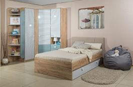 Pokoj pro studenta Ezra - dub zlatý/modrá/bílá