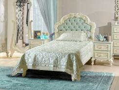 Dětská postel s roštem Margaret 90x200cm - alabastr/mintová