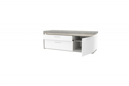 Tv stolek pravý Bastien - bílá/dub šedý