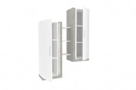 Dvojitá vitrína Bastien - bílá/dub šedý