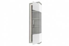 Vysoká vitrína pravá Bastien - bílá/dub šedý