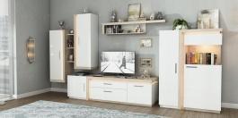 Obývací pokoj Bastien - bílá/dub nelson