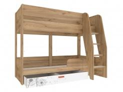 Dětská patrová postel s úložným prostorem Brody 80x190cm - dub zlatý/bílá
