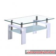 Konferenční stolek, bílá extra vysoký lesk HG, LIBOR NEW