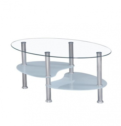 Konferenční stolek, ocel/čiré sklo/mléčné sklá, WAVE NEW