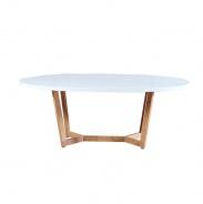 Konferenční stolek, MDF / kov, bílá HG / dub sonoma, Glosy